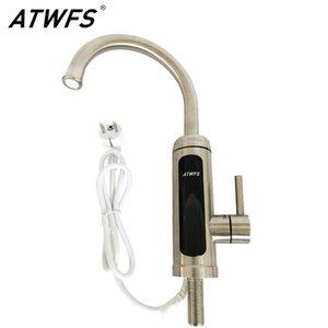 ATWFS Sinkless Water Calentador de agua Cocina Grifo 220V Agua caliente Toque Baño Calentadores instantáneos Acero inoxidable con pantalla de temperatura T200424