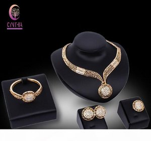 New Jewelry Sets African Beads Collar Statement Necklace Earring Bangle Fine Ring For Women CZ Diamond Vintage Party Accessories