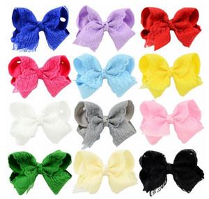 4 Inch Popular Baby Bow Hairpins Grosgrain Ribbon Bows Children Grosgrain Ribbon Lace Hair Clips Barrette Kids Hair Accessories A11