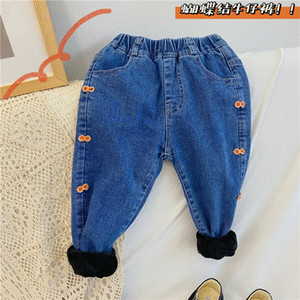 Girls' Plush and Thickened Jeans Stretch 2020 New Children's Winter Casual Baby Warm Pants E3