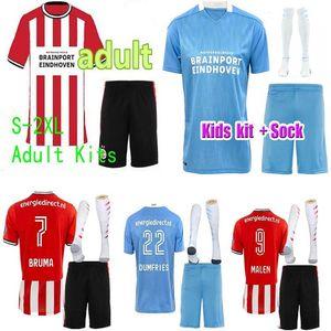 20 21 Eindhoven Fussball Trikots Malen 2020 2021 GAKPO Dumfries Football Shirt Set Bruma Men + Kids Kit + Socken