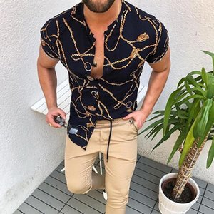 Summer Man Shirt 2020 Mens Casual Ethnic Digital Printed Stand Collar Stripe Short Sleeve Loose Cardigan Single Breasted Shirt H