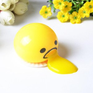 3Pcs AntiStress Squishy Egg Joke Toy Ball Egg Squeeze Funny Toys Vomitive Egg pig cat Yolk Anti Stress Reliever Fun Gift Yellow Lazy