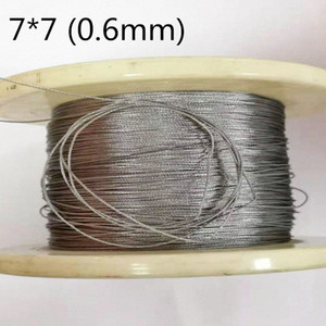 50M 0.6mm 304 stainless steel wire rope cable softer fishing lifting cable 7X7 Structure 5Ynx#