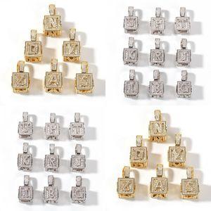 Eis aus Zirkon Quadrat Würfel mit englischen Buchstaben Anhänger Halskette Kostenlose Mode Top Qualität Namens Buchstabenkette 213 N2