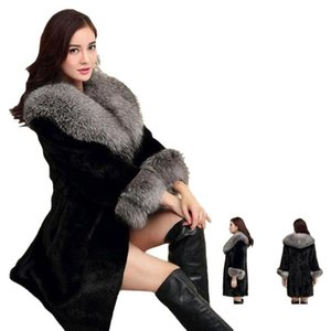 Женские меховые искусственные пальто женщины зимняя норка средние длинные куртки женские толстые теплые искусственные роскошные слои плюс размер 4xl