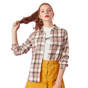 Semir Femmes Blouse 100% coton Fit Coupe-chemise Plaid Col Collier Femmes Chemise à carreaux à manches longues Top Tape Tape Taute Bouton 201013
