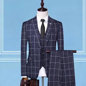 Mens New Dress Suits Mens Fashion Casual Silm lattice Business Office Wedding Party 3 Piece Suits Blazer With Pants Vest Size3XL
