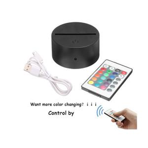 USB Bases Câble de la lampe tactile pour la 3D Led Night Light remplacement coloré de base Table lumineuse de mariage de Noël Décor Holder gros