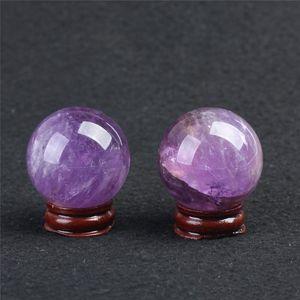 Venda Cristal HJT Sphere Para Ametista Gemstone Chrismas Decoração Natural Cura Ball / ametista pequeno Início Sphere 2pcs Wholesal bbyBj