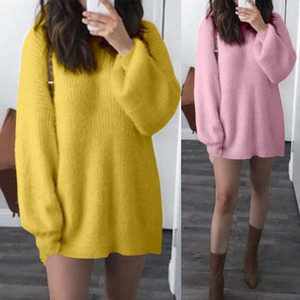 Knitted Sweater Dress 2020 Celmia Women Casual Winter Dress Loose Pullover Jumpers Pull Long Sleeve Knitting Mini Vestidos S-5XL