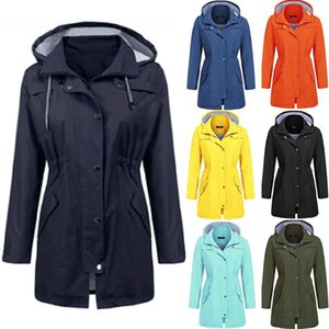 20FW autumn new women's hooded windbreaker casual waterproof waist slimming mid-length rainproof jacket women Size XS-2XL