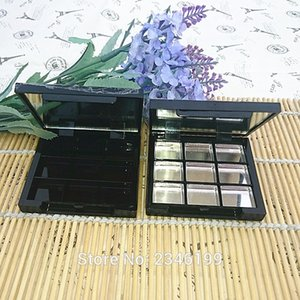 9 Grids Empty Eye Shadow with Mirror, Aluminum Black Palette Pans, Makeup Tool, Cosmetic DIY High Quality Plastic Box, 30pcs lot