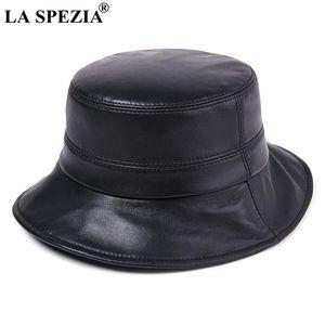 La Spezia Натуральная кожаные женщины шляпы сплошные черные ведра шапки японские винтажные винтажные овчины дамы осень зима рыбалка