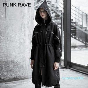 Punk Rave Женский Панк Улица Стиль Черный Ведьма Шляпа Свободная длинная длинная ветровка Личности Ветрозащитный куртка Пальто улицы