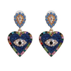 Wholesale creative heart shape eyes dangle earrings crystal rhinestone earrings women girl party jewelry gift