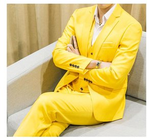 Men's Suits & Blazers M-6XL Plus Size Mens Korean Fashion Business Casual 3-piece Set Wedding Dress 10 Colors CSMS003