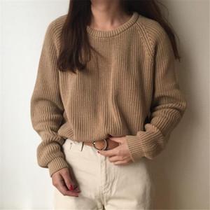 Suéter das mulheres tricô camisola sólida o-pescoço pulôver 2021 moda coreana senhoras casuais luva cheia solta feminina swaeter