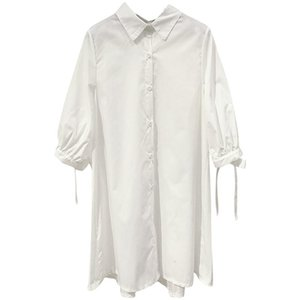 PERHAPS U White Shirt Dress Turn Down Collar Lantern Sleeve Lace Up Pleat Back Mini Short Dress Loose Button Summer D0438