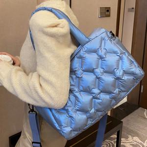 Luxury Down Space Bag Women 2021 Big Cotton Lightweight Tote Bags Fashion Branded Designer Shoulder Crossbody Handbags Q1220