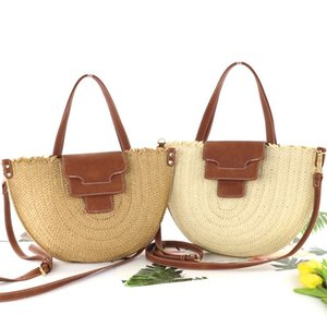 New semi-circular paper woven straw bag retro leather cover messenger woven bag shoulder summer female beach travel bag 201006