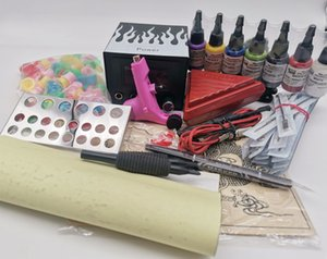 2021 kit 3 New Pro Complete Tattoo Kit 1Pc Ego Rotary Tattoo Machine Gun Power Supply With 7Bottles Ink Pigment For Tattoo Guns Kits Supply