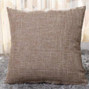 Algodón-lino fundas de almohada sólido Funda de almohada arpillera Clásica Cojín cuadrado de lino cubierta decorativa Sofá Almohada Casos 40cm * 40cm OWF1177