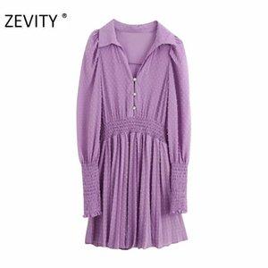 ZEVITY Новый женский элегантный поворот вниз воротник точек шовный плиссированные мини-платье леди слоеного рукав эластичный Платье Шикарные платья DS4399