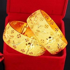 999 or jaune dragon Phoenix Double Happiness Bracelet pour les femmes Brass mariée mariage Bijoux Bracelets Bracelet Fine Jewelry