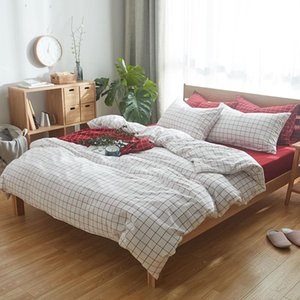 CHAUSUB New Plaid Bed Linens Duvet Cover Washed Cotton Bedding Set 4PCS Plain Bed Cover Sheets Queen King Size 26 Colors