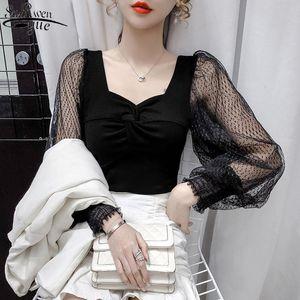 Autumn New Women's Top Fashion Polka Dot Mesh Long Sleeve Women's Shirts Sexy See Through Slim Blouse Women 12075