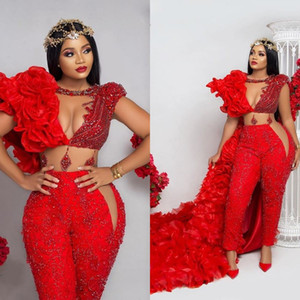 2021 Aso Ebi Jumpsuit with Wrap Red Prom Dresses Crystals Pant Suit Ruffle Party Second Reception Gowns Plus Size Evening Dress