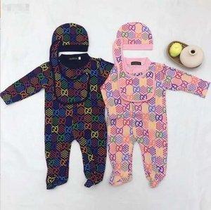 Yenidoğan bebek kıyafetleri uzun kollu tasarımcı etiket bebeğin onesies bebek kıyafetleri erkek ve kız onesies + şapka + Önlükler