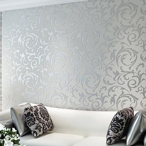 Silver Gray Golden Yellow Wallpaper European Style Non Woven Fabric Hook Flower Raspberry Leaf Pattern Background Wall paper 3d