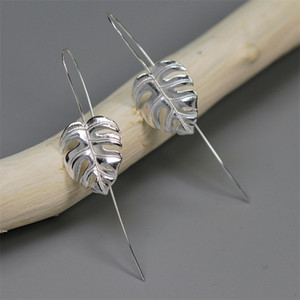 INATURE 925 Sterling Silver Monstera Leaf Drop Earrings for Women Fashion Jewelry Accessories 1021