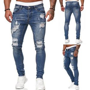 Men Jeans Elastic Waist Skinny Jeans Mens fashion 2020 Stretch Ripped Pants Streetwear Mens Denim Jeans dresses S-3XL