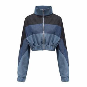 Zip-se recortada Denim Jacket Mulheres Long Sleeve Outono Coats Feminino Turn-Down Collar Patchwork Cortar Jeans Casacos Mulher Outwear