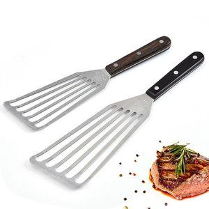 Cozinhar Utensílios Fried Steak Shovel Longo Punho Slotted Aço Inoxidável Eel Turner Spatula Cozinha Ferramentas Sea Expedição BWB4709