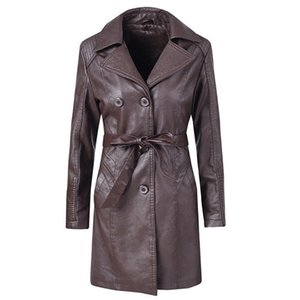 2021 Women Coffee Soft Leather Jacket Dress Medium Length Slim Faux Pu Leather Coats Elegant Tie Belt Waist Pockets Outfits#J30
