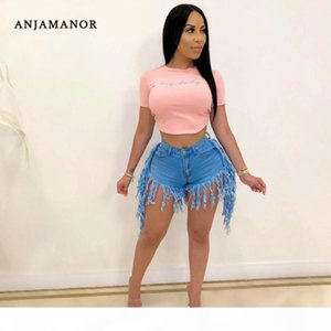 ANJAMANOR Sexy High Waisted Tassel Denim Shorts Women Summer Clothes 2020 Street Style Fashion Ripped Jeans Stretch D30-AI61 T200603