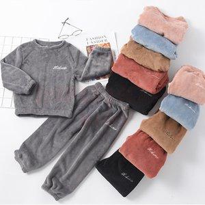 Inpepnow Warm Oswear Traje Coral Fleece Sleepwear Kids Pijamas para niñas Espesar Pijamas para niños para niños Adolescentes Ropa 201104
