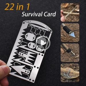 J517 EDC Kit 22 Dans 1 engins de pêche Carte de crédit multi-outils camping en plein air Équipement de survie Outils de chasse de survie