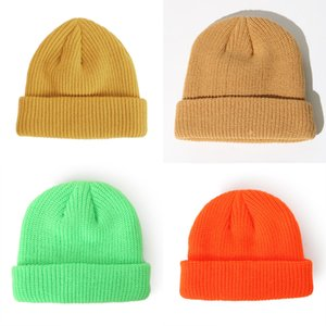 Knitted Diy Custom Made Solid Color Melon Fur Woolen Cap Beanie Team Autumn and Winter Unisex Hip-hop Hat 9A2W