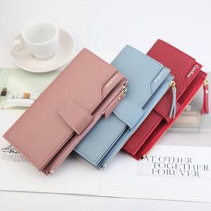Elegant Women Leather Long Wallet Buckle Strap Zipper Clutch Bag Female Three Layers Wallets Versatile Money Cards Bags Purses