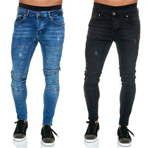 Skinny Jeans Man Folds Jeans Fashion Trend Low Waist Casual Zipper Denim Trousers Designer Male Light Wash Frayed Elastic