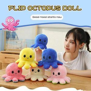 23 estilos reversibles flip octopos muñeca rellena suave expresión de doble cara peluche juguete bebé niños regalo muñeca muñeca año nuevo festival festival suministros