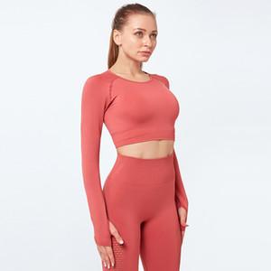 Fitness Yoga Malla camiseta de manga larga de manga larga secado rápido cuello redondo ocio al aire libre.