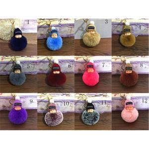 Sweet Fluffy Pompom Sleeping Baby Key Chain Faux Rabbit Fur Pom pon Knitted Hat Baby Doll Keychain Car Keyring Toy MMA2409-A1H0QI