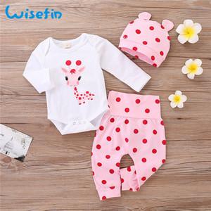 Wisefin Polka Dot bebé recém-nascido Outfits Set infantil bonito do girafa da menina roupas com chapéu do inverno outono roupa do bebê para a menina 1021