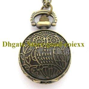 Vintage Owl Bronze Women's Men Pocket Watch Necklace Accessories Sweater Chain Ladies Hanging Mens Pocket Watches AA00171